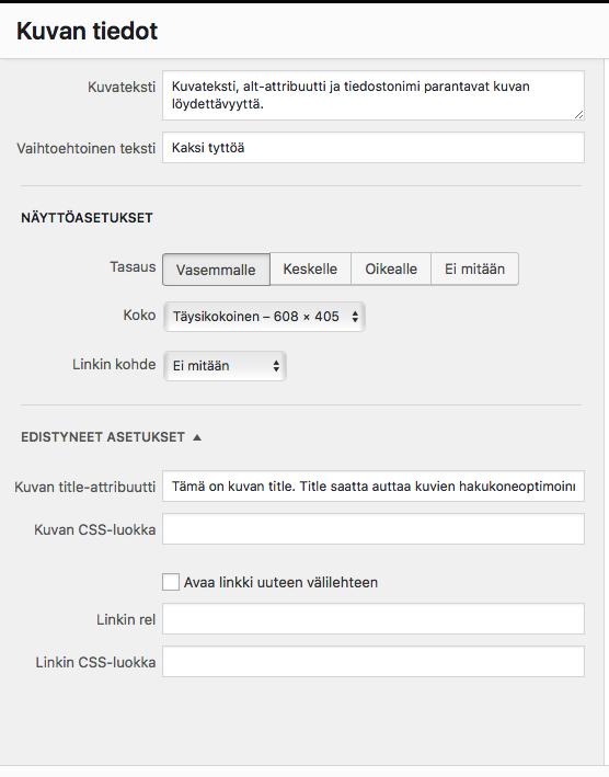 WordPress-kuva-asetukset